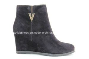 Sexy High Heel Wedges Women Leather Ankle Boots pictures & photos
