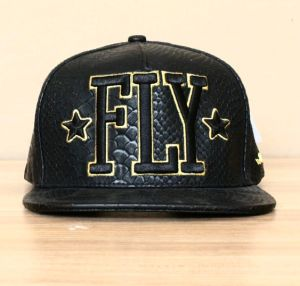 Fitted Custom Fahion Flat Leather Cap with 3D Embroidery