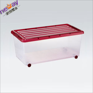 Transparent Custom Plastic Storage Box with Wheels pictures & photos