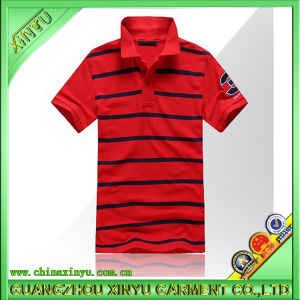 Newly Design Red Pique Stripe Men Polo T Shirts pictures & photos