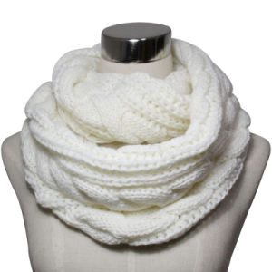 Lady Acrylic Knitted Fashion Infinity Ivory Scarf (YKY4374) pictures & photos