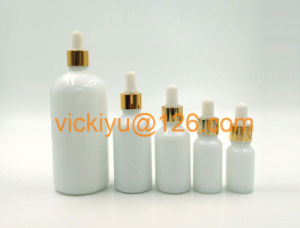 5ml~200ml High Quality Glass Lotion Bottles, Milk White Cosmetic Bottles with Pump/Dropper