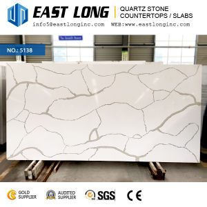Artificial Calacatta Polished Surface Engineed Quartz Stone for Kitchen Countertops pictures & photos