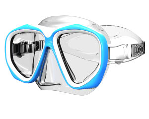 Blue Frame Clear Silicone Diving Mask with Tempered Glass (MK-205) pictures & photos