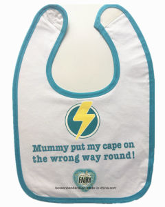 OEM Produce Cheap Cotton Customized Logo Printed Cotton Terry Blue Baby Bibs pictures & photos