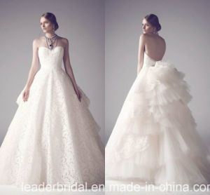 Saudi Arabia Bridal Ball Gown Wedding Dresses Lace Organza Backless Wedding Gowns Ld1007 pictures & photos