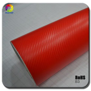 Tsautop 3D Carbon Fiber Vinyl for Car Wrapping& Red B3 pictures & photos