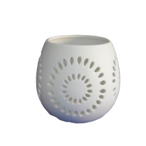 Home Decorative Matt White Ceramic Candle Holder with Hollow out Design pictures & photos