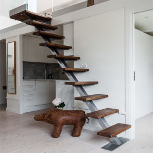 Modern Simple Design Wooden Treads Single Stringer Straight Stairs pictures & photos