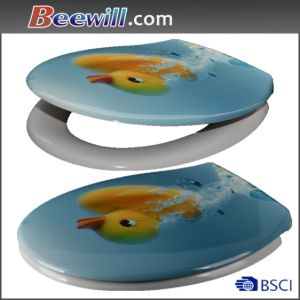 Beautiful Printing UF Toilet Seat with Soft Closing Hinge pictures & photos