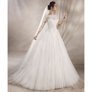 Short Sleeves Wedding Ball Gowns Lace Tulle Sheer Neck Bridal Dresses Lb1828 pictures & photos