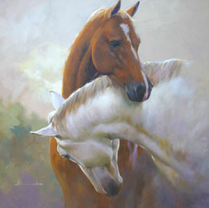 100715 Reproduction Oil Painting Impressionistic (Horses)