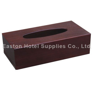 Hotel Mahogany Wooden Rectangle MDF Tissue Holder pictures & photos