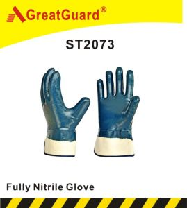 Cotton Jersey Nitrile Glove (ST2073) pictures & photos