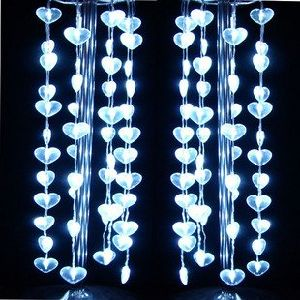 Christmas Light,Wedding Lights Party Lighted Decoration 48 Led Heart-Shaped Curtain White (NPLC-20)