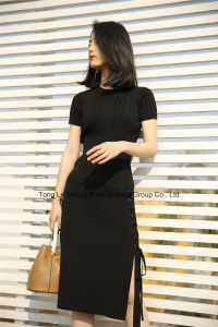 Lace-up Knit Skirt Black Sweater Womens pictures & photos