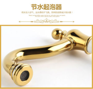 New Design Chinese Blue-and-White-Ceramic Double Handle Zf-613 Five-Hole Bath Faucet pictures & photos