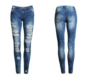 Girl Damaged Jeans Slim Jeans in Plus Size pictures & photos
