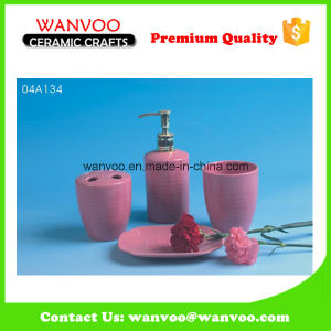 4PCS Promotional Pink Ceramic Bath Accessory Set with Soap Dispenser Pump pictures & photos