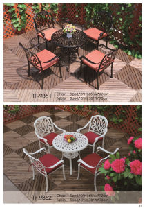 Patio 5 Pieces Cast Aluminum Round White Dining Set