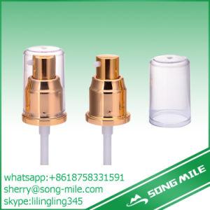 Plastic Gold Aluminium Cosmetic Bottle Cream Pump with Flat Cap pictures & photos