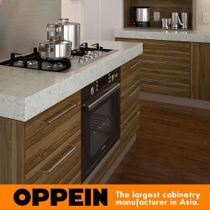 Guangdong Modern Wood Grain Island Melamine Kitchen Cabinets (OP15-M09) pictures & photos