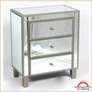 Reflections 1 Drawer 1 Door Accent Table with Mirrored Finish, Silver Glass pictures & photos