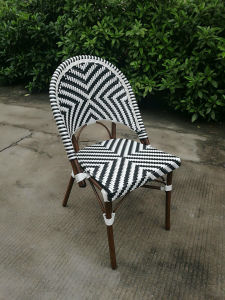 White and Black Rattan Outdoor Bistro Chair Without Arm (SP-OC429) pictures & photos
