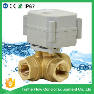 DC5V/DC12/DC24V Dn15 3-Way L-Bore Brass Electric Ball Control Motorized Valve pictures & photos