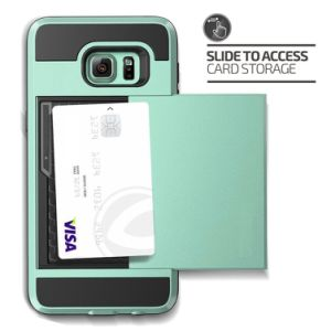 Mint Green Wallet Shockproof Rubber Anti-Scratches Hard Cover Skin Card Slot Holder for S8 Plus pictures & photos