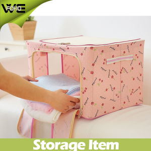 Durable Oxford Foldable Steel Shelf Lidded Fabric Covered Storage Box pictures & photos