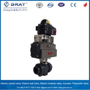 Double Union Connection PVC Pneumatic Ball Valve with Limit Switch pictures & photos
