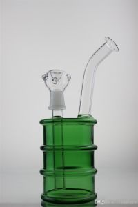 Pipe Glass Pipes Water Pipe with Green Petrol Drum and Percolator Recycler Glass Smoking Pipe with Hamburger and Percolator Recycler pictures & photos