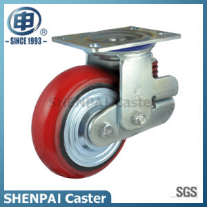 """5""""Heavy Duty PU Single Springs Swivel Locking Shockproof Caster pictures & photos"""
