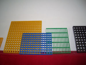 "Anti-Corrosion Industrial Fiberglass Grating 1-1/2"" Thick, 1-1/2"" Square Mesh, Yellow, with Grit. pictures & photos"