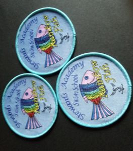 Customized Fish Design Promotion Woven Badge pictures & photos