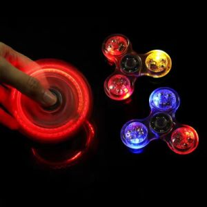 Bright Crystal Hand Fidget Spinner Glowing Tri Spinner Fidget with LED pictures & photos