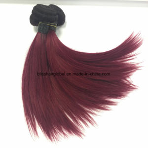 7A Ombre Human Hair Weaving Brazilian Hair Straight 1b/99j Color pictures & photos