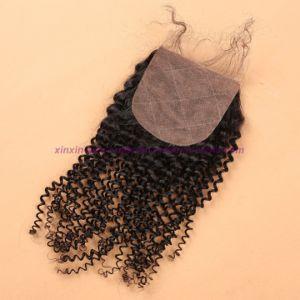 8A Peruvian Virgin Hair with Silk Base Closure Kinky Curly with Silk Base Closure Kinky Curly Virgin Hair with Closure pictures & photos