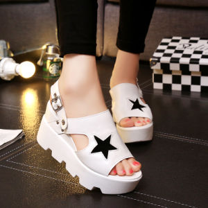2017, Foreign Trade New Style Explosion, Slope Heel High Heels, Female Belt with Thick Bottom Female Flip Flops pictures & photos