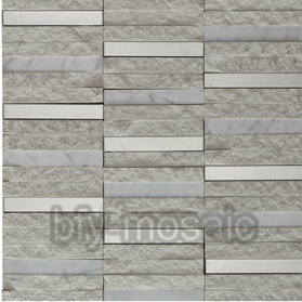 Stainless Steel Mixed Natural Marble Mosaic for Building Material (FYSM084) pictures & photos