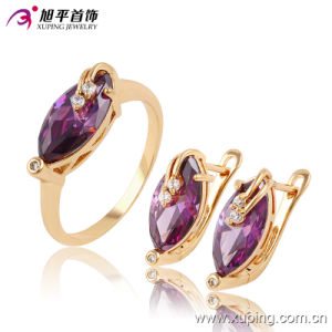 Luxury Women Latest Model Fashion Jewelry CZ Gemestone Jewelry Set with Ring, Earring -63657 pictures & photos