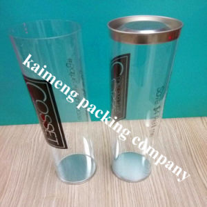 Recycalble Clear Pet Plastic Cylinder with 2PCS Black Caps pictures & photos