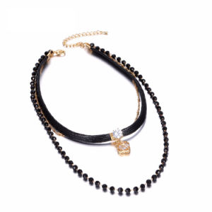 Fashion Multilayer Tattoo Choker Necklaces for Women Black Crystal Rope Wax Chain Clover Pendants Jewelry Necklace pictures & photos
