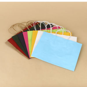 Custom Printed Kraft Paper Shopping Bag with Twisted Handle pictures & photos