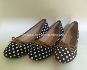 Canvas ladies ballet flat shoes with white dot printing pictures & photos