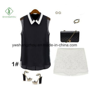 New Fashion Sleeveless Chiffon Baby Collar T-Shirt for Women pictures & photos