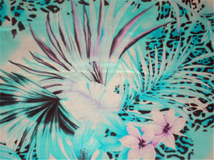 Flower and Leaf Printed Silk Satin pictures & photos