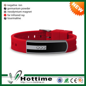 Eco-Friendly Silicone Bracelet with Stainless Steel (CP-JS-ND-008) pictures & photos
