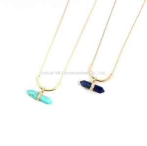 Natural Gemstone Long Hexagonal Healing Chakra Reiki Pendant Chain Necklace Gift pictures & photos